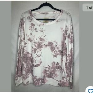 Chaser Floral Print Long Sleeve Pullover Sweater